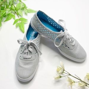 Keds Gray Cut Out Lace Up Sneakers